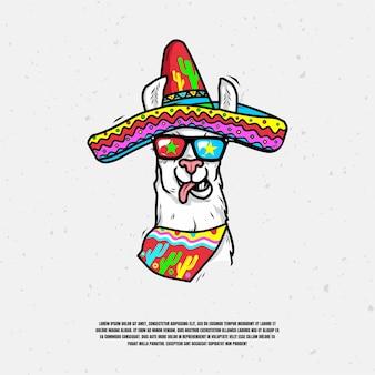 Vecteur premium illustration logo lama cool
