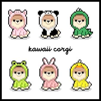 Vecteur premium kawaii corgi dog 8bit