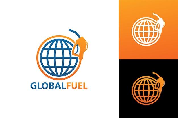 Vecteur premium de modèle de logo de carburant mondial