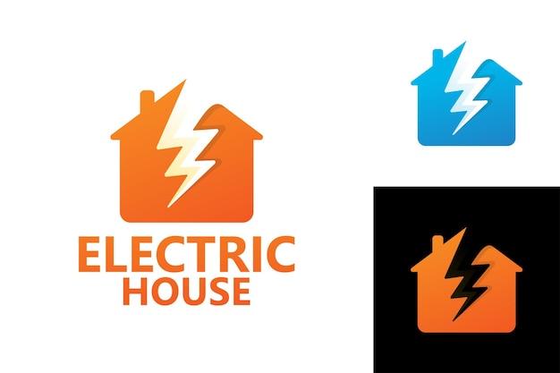 Vecteur premium de modèle de logo de maison électrique