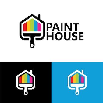 Vecteur premium de modèle de logo de maison de peinture