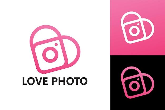 Vecteur premium de modèle de logo de photographie d'amour