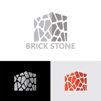 Vecteur premium de modèle de logo de pierre de brique