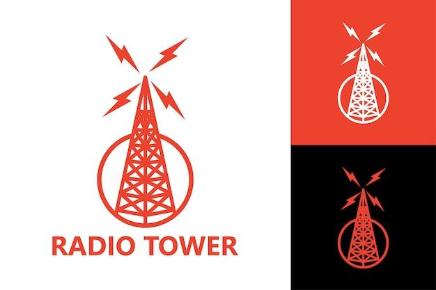 Vecteur premium de modèle de logo de tour radio