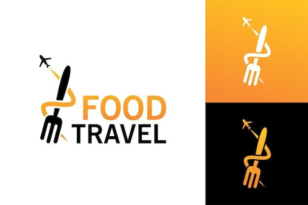 Vecteur premium de modèle de logo de voyage alimentaire