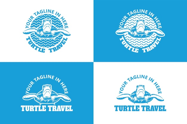 Vecteur premium de modèle de logo de voyage tortue
