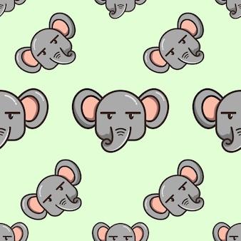 Vecteur premium de motif d'éléphant tête de dessin animé mignon