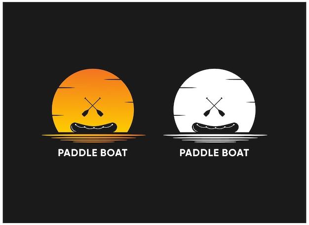 Vecteur premium de pagaie et de bateau de silhouette