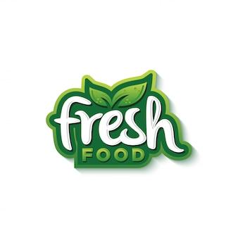 Vecteur de prime de conception de logo typographie des aliments frais