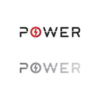 Le vecteur de puissance, le flash ogo et le coup de foudre et la conception de modèle d'illustration d'électricité d'icône
