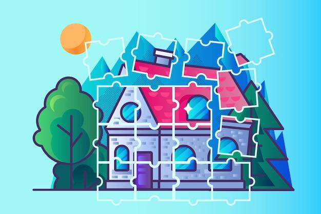 Vecteur de puzzle de construction de bâtiments immobiliers