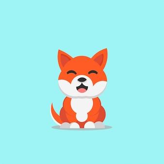 Vecteur de race de chien souriant mignon shiba inu japon