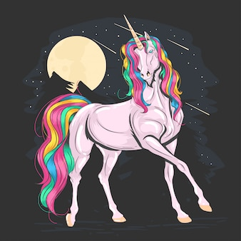 Vecteur rainbow rose de couleur unicorn