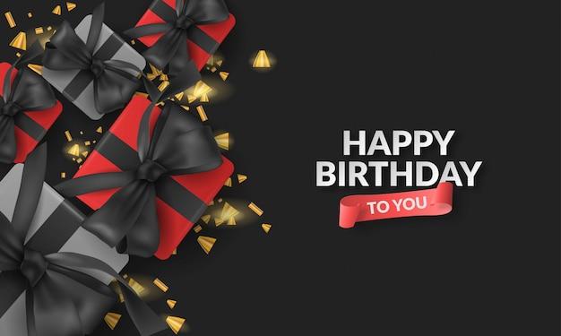 Vecteur réaliste 3d de boîte-cadeau pour fond de joyeux anniversaire avec ruban, boîte-cadeau, confettis