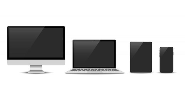 Vecteur réaliste. ensemble d'appareils: moniteur pour ordinateur portable, tablette et modèle de téléphone