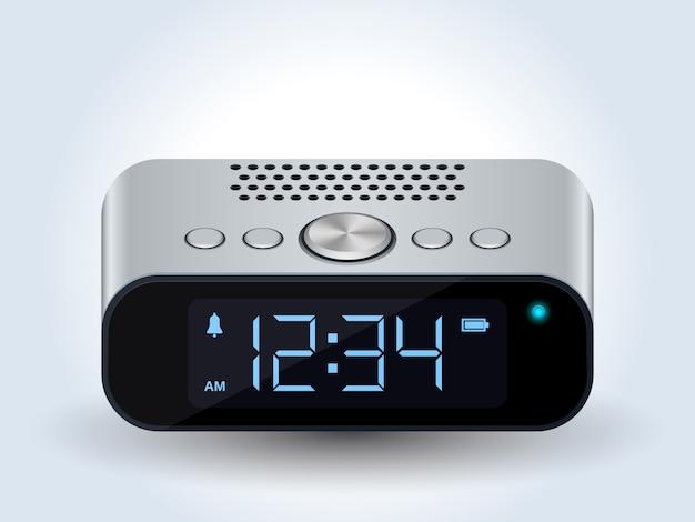Vecteur réaliste d'horloge de bureau numérique