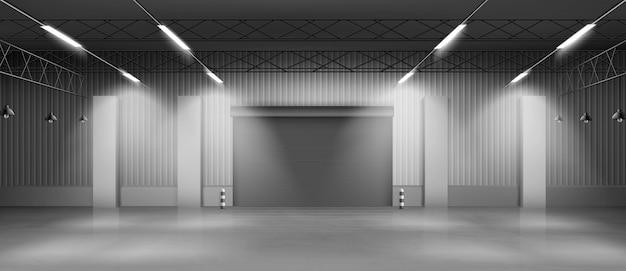 Vecteur réaliste intérieur entrepôt vide hangar