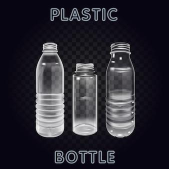 Vecteur réaliste en plastique contenant bouteille d'eau minérale étiquette de boisson étiquette en plastique vide vide bouteille boisson boisson minérale vecteur objet en plastique