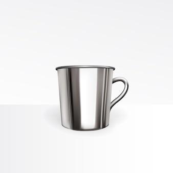 Vecteur réaliste de tasse en métal