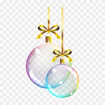 Vecteur réaliste transparent boules de noël colorées sur un carré