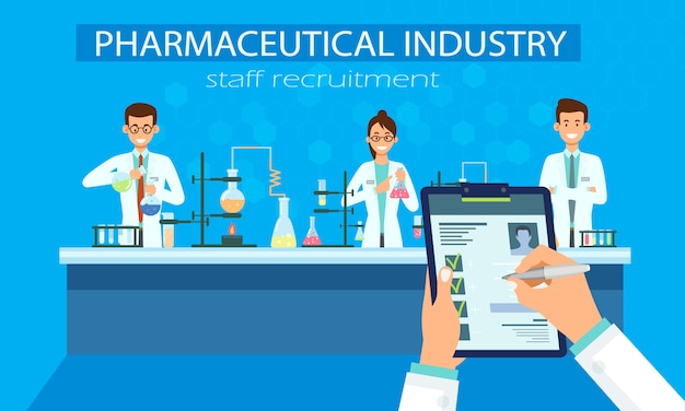 Vecteur de recrutement de personnel de l'industrie pharmaceutique.