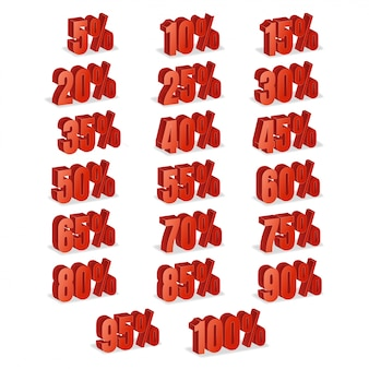 Vecteur de réduction 3d. jeu d'icônes de pourcentage de vente rouge dans un style 3d isolé sur fond blanc.