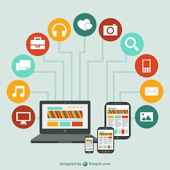 Vecteur de réseau des appareils de technologie