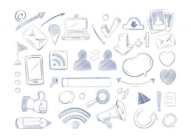 Vecteur de réseau de médias sociaux doodles, main d'ordinateur internet dessiner des icônes