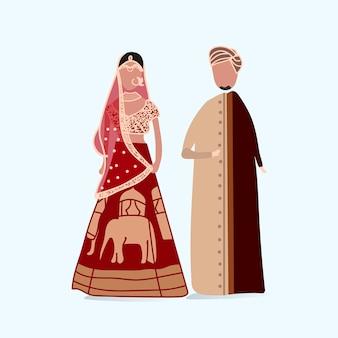 Vecteur de robe de mariage traditionnel indien