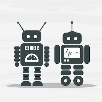 Vecteur robots silhouettes pack
