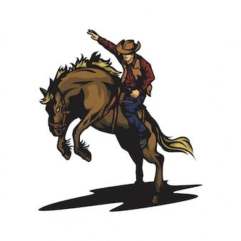 Vecteur de rodéo de cheval