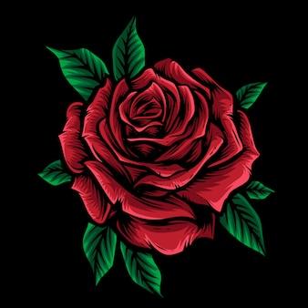 Vecteur rose rouge avec feuille