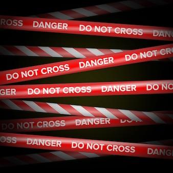 Vecteur rouge et blanc. lignes de danger.