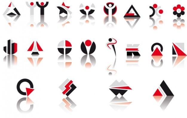 Vecteur rouge et symboles noirs