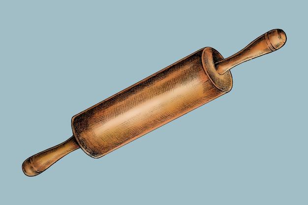 Vecteur de rouleau à pâtisserie en bois dessiné à la main
