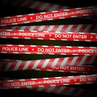 Vecteur de ruban de danger. lignes rouges et blanches.