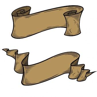 Vecteur de ruban dessiné main vintage blanc.