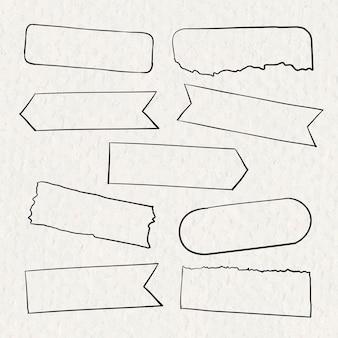 Vecteur de ruban washi numérique défini dans un style dessiné à la main