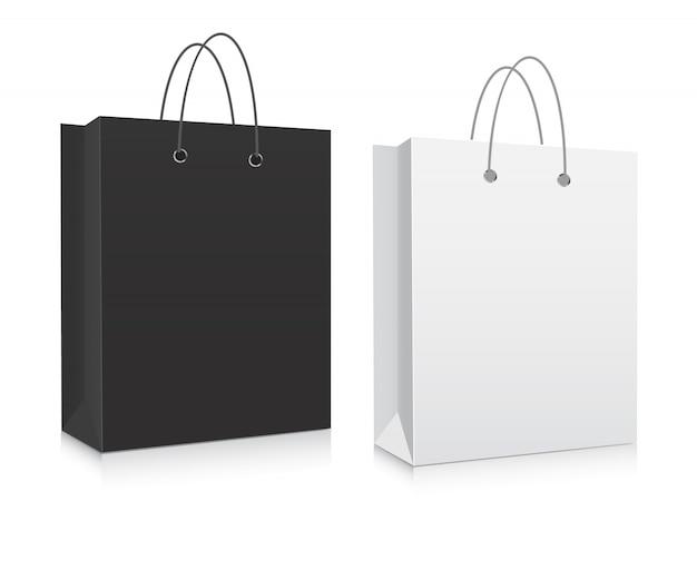 Vecteur de sacs à provisions en carton blanc.