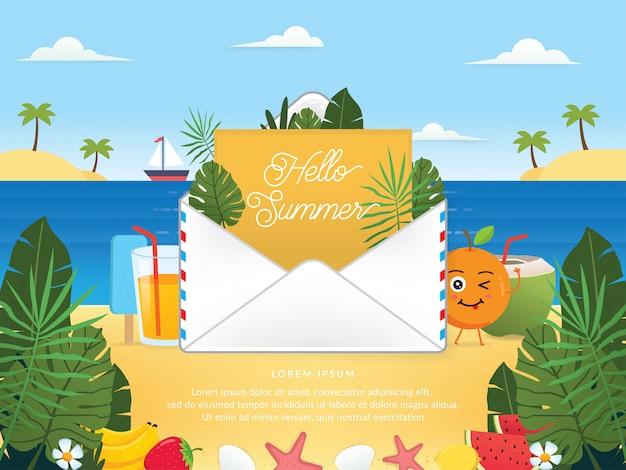 Vecteur de la saison d'été avec email