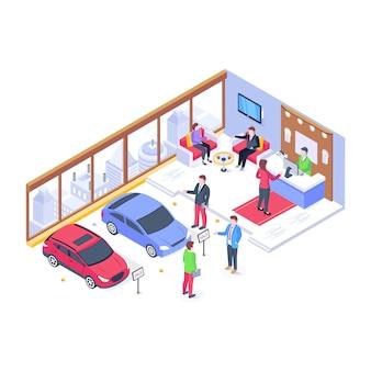 Un vecteur de salle d'exposition de voitures ayant des personnes qui traitent avec des clients pour vendre une voiture