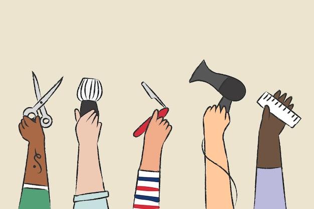 Vecteur de salon de coiffure, doodle dessiné à la main