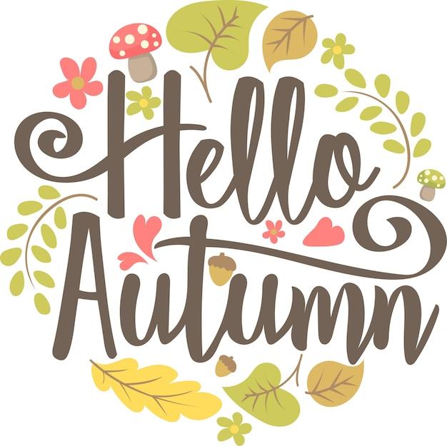 Vecteur de salutation automne lettrage dessinés à la main
