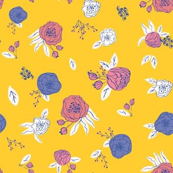 Vecteur sans couture floral dessiné de main