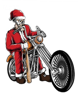 Vecteur de santa biker