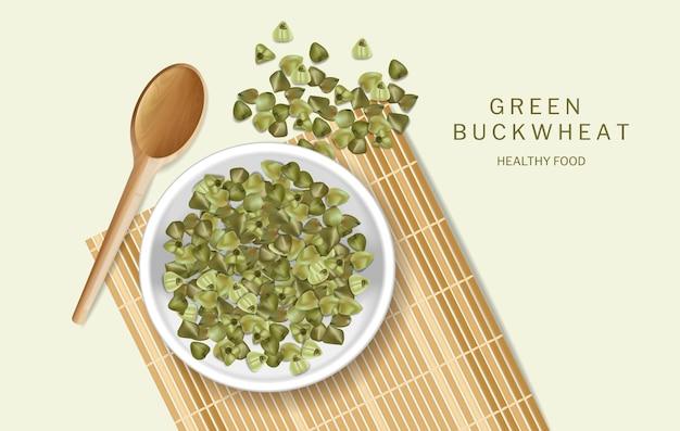 Vecteur de sarrasin vert réaliste. maquette de placement de produit. aliments frais et sains