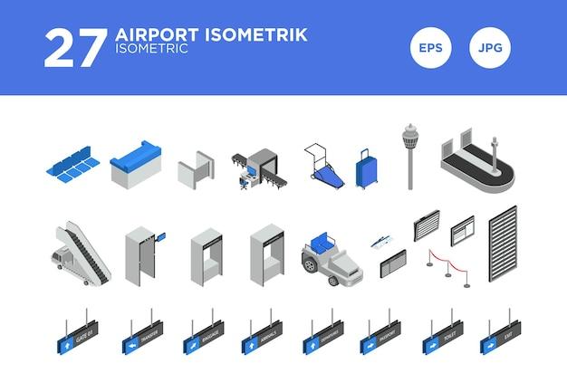 Vecteur de scénographie isométrique de l'aéroport
