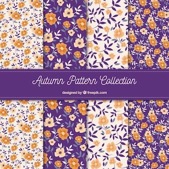 Vecteur seamless floral pattern ensemble