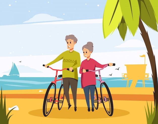 Vecteur senior couple âgé sur la plage avec des vélos
