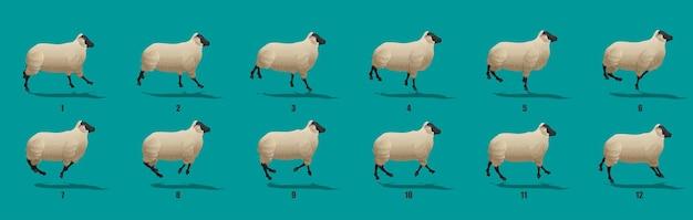 Vecteur de séquence d'animation de cycle d'exécution de moutons